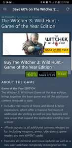 Steam: The Witcher 3 GOTY edition