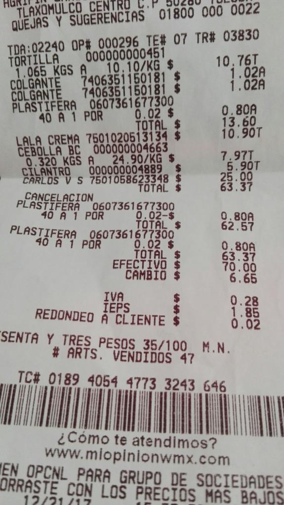 Bodega Aurrerá: Esfera plástica a $0.02