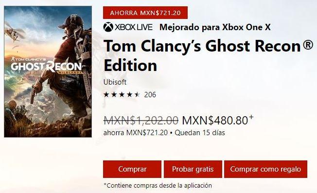 Microsoft Store: Tom Clancy's Ghost Recon Wildlands - Standard Edition en $480 con Gold