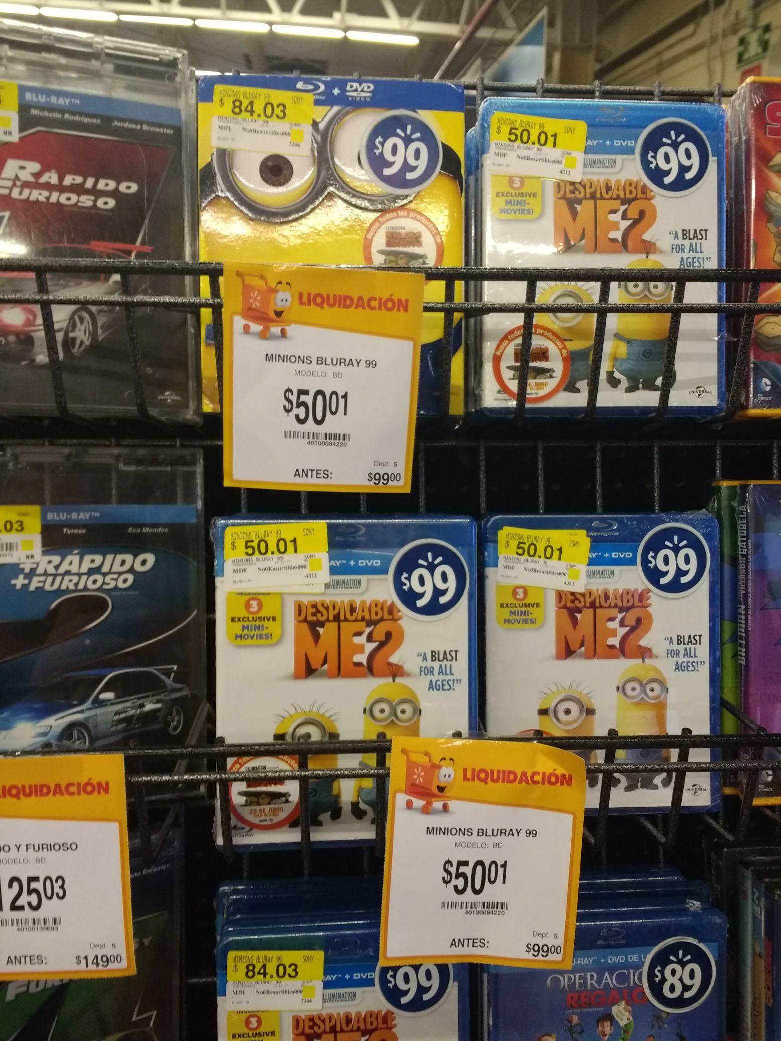 Walmart: Minions y mi villano favorito Blu-ray + DVD a $50.01