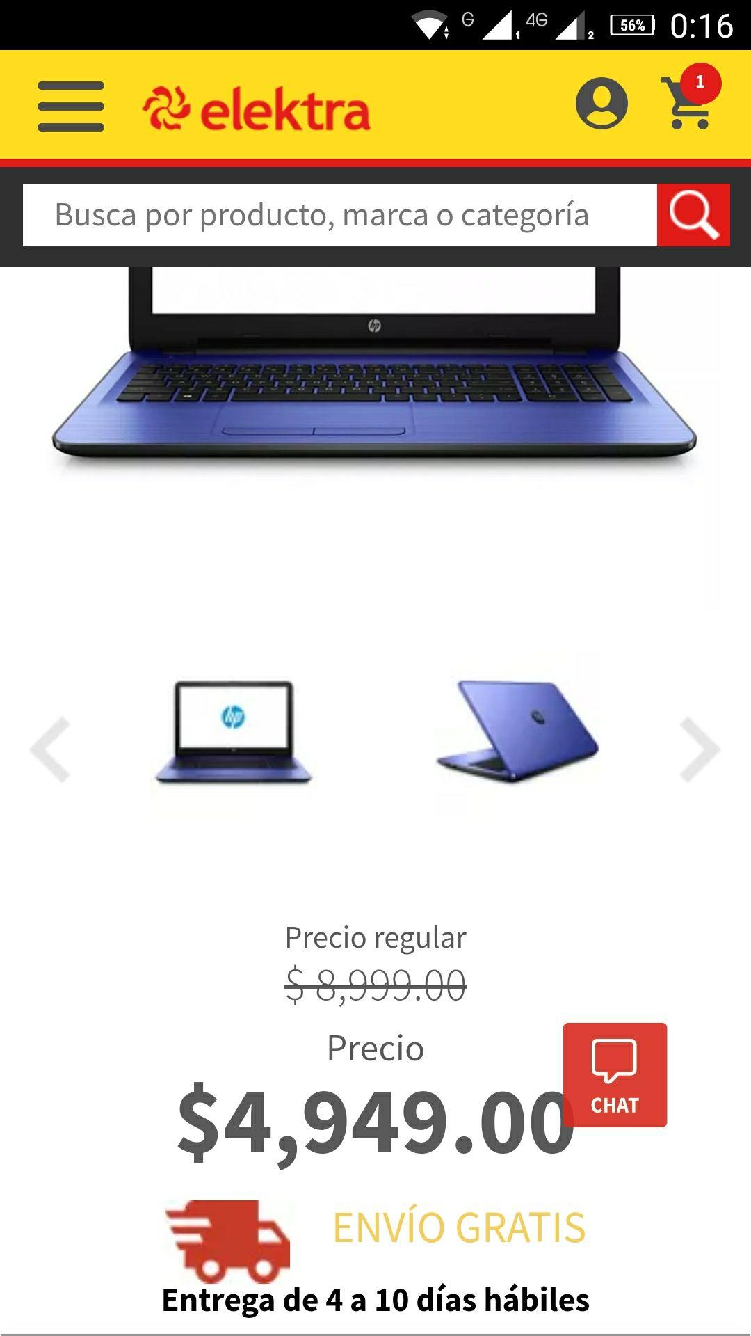"""Elektra: Laptop HP 14-AM017LA 8GB 1TB 14"""""""