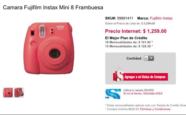 Sears: Camara Fujifilm Instax Mini 8 Frambuesa