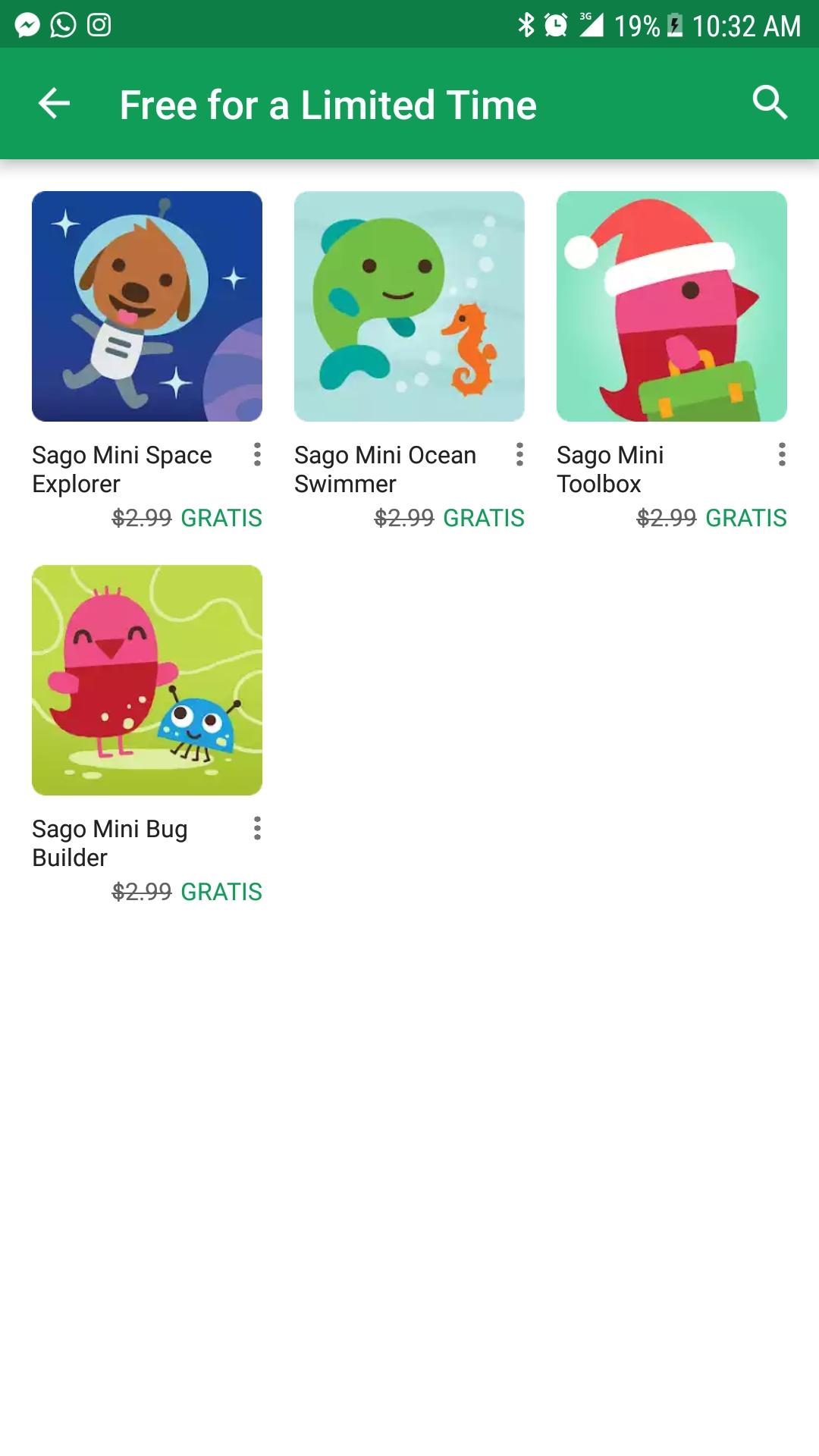 Google Play: Coleccion de juegos gratis para niños Sago Mini