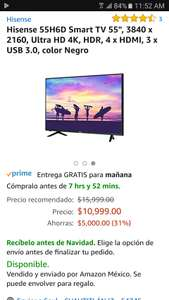 "Amazon: PANTALLA Hisense 55H6D Smart TV 55"", 3840 x 2160, Ultra HD 4K, HDR, 4 x HDMI, 3 x USB 3.0, color Negro"