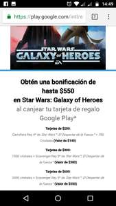 Google Play: Bonificacion en Star Wars Galaxy Heroes