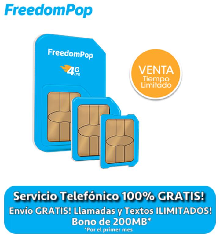 FreedomPop: Chip 4G, Envío Gratis, bono de 200 MB y el primer mes de uso gratis