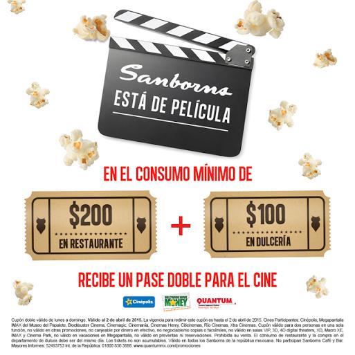 Boleto doble para el cine gratis gastando $300 en restaurante y dulcería de Sanborns
