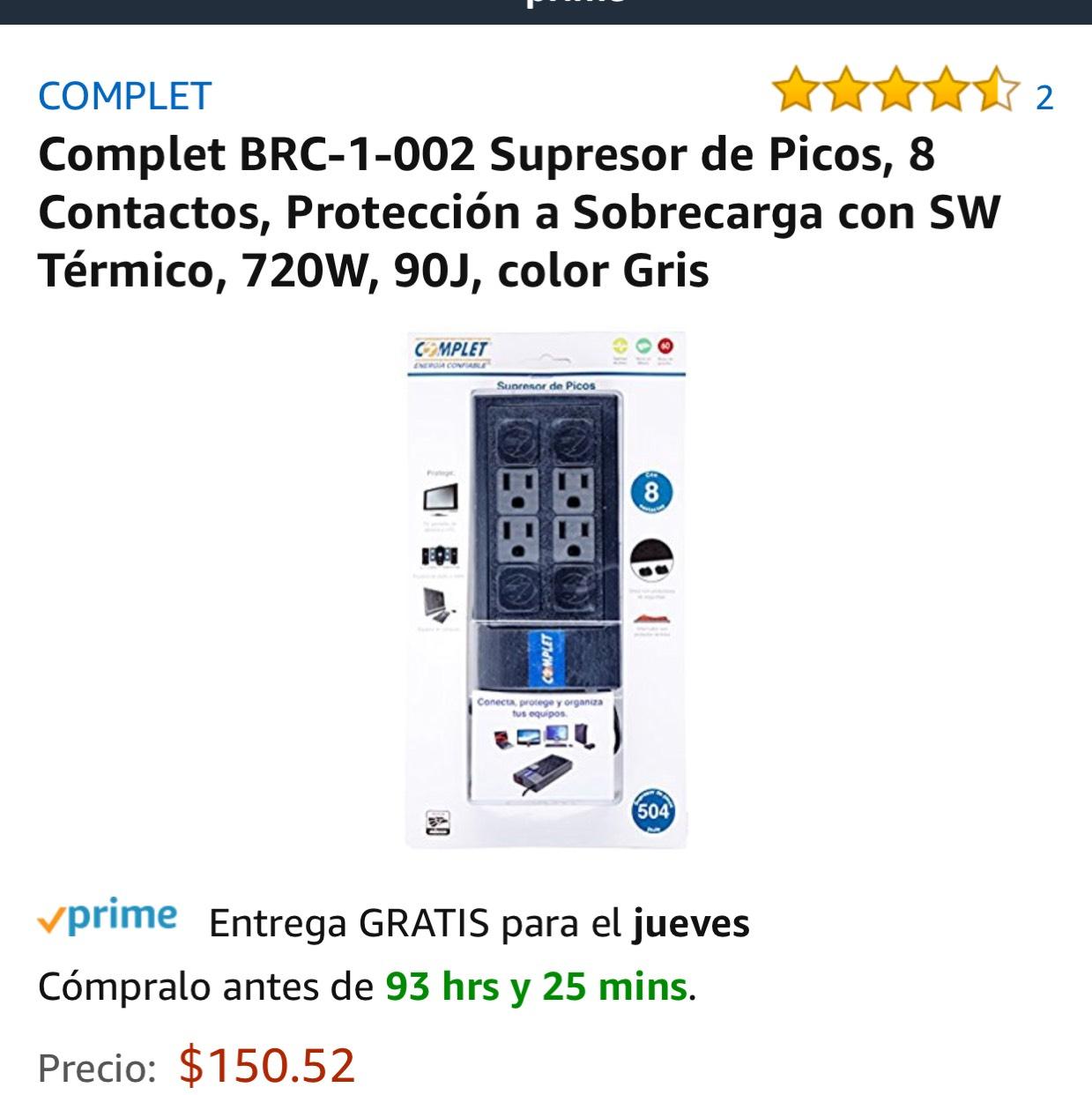 Amazon: Supresor De Picos 8 contactos Complet BRC-1-002 Envío Gratis (Prime)