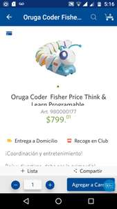 Sam's Club: Oruga coder Fisher Price a $799