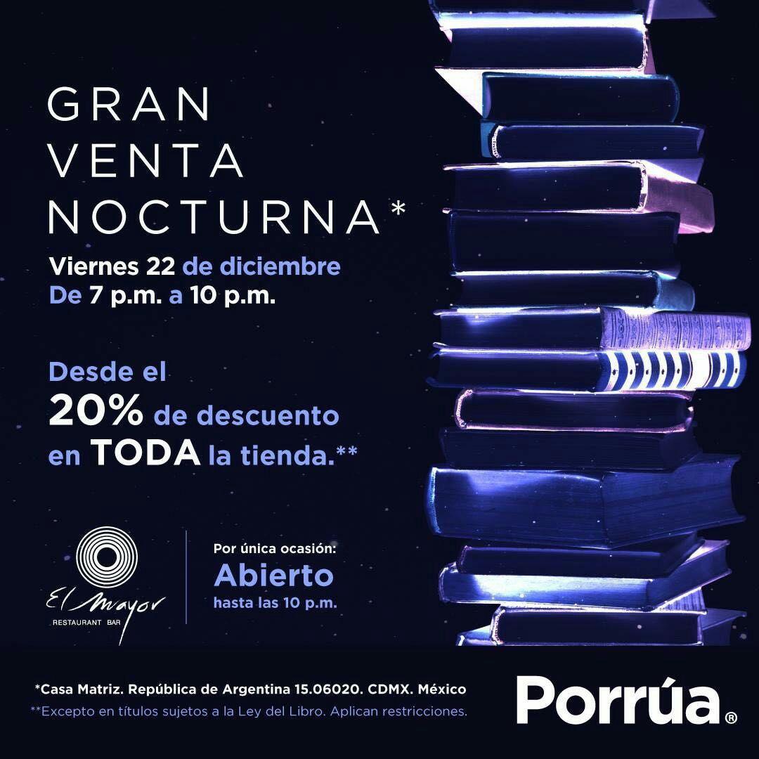 Porrua Venta nocturna: desde 20% de descuento en toda la tienda