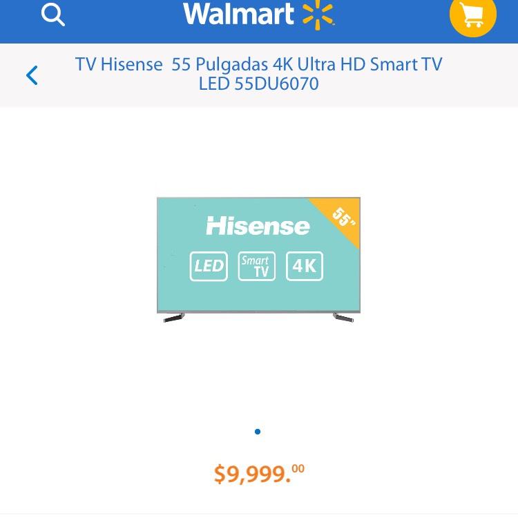 """Walmart: Pantalla Hisense 55"""" 4K Ultra HD Smart TV LED 55DU6070"""