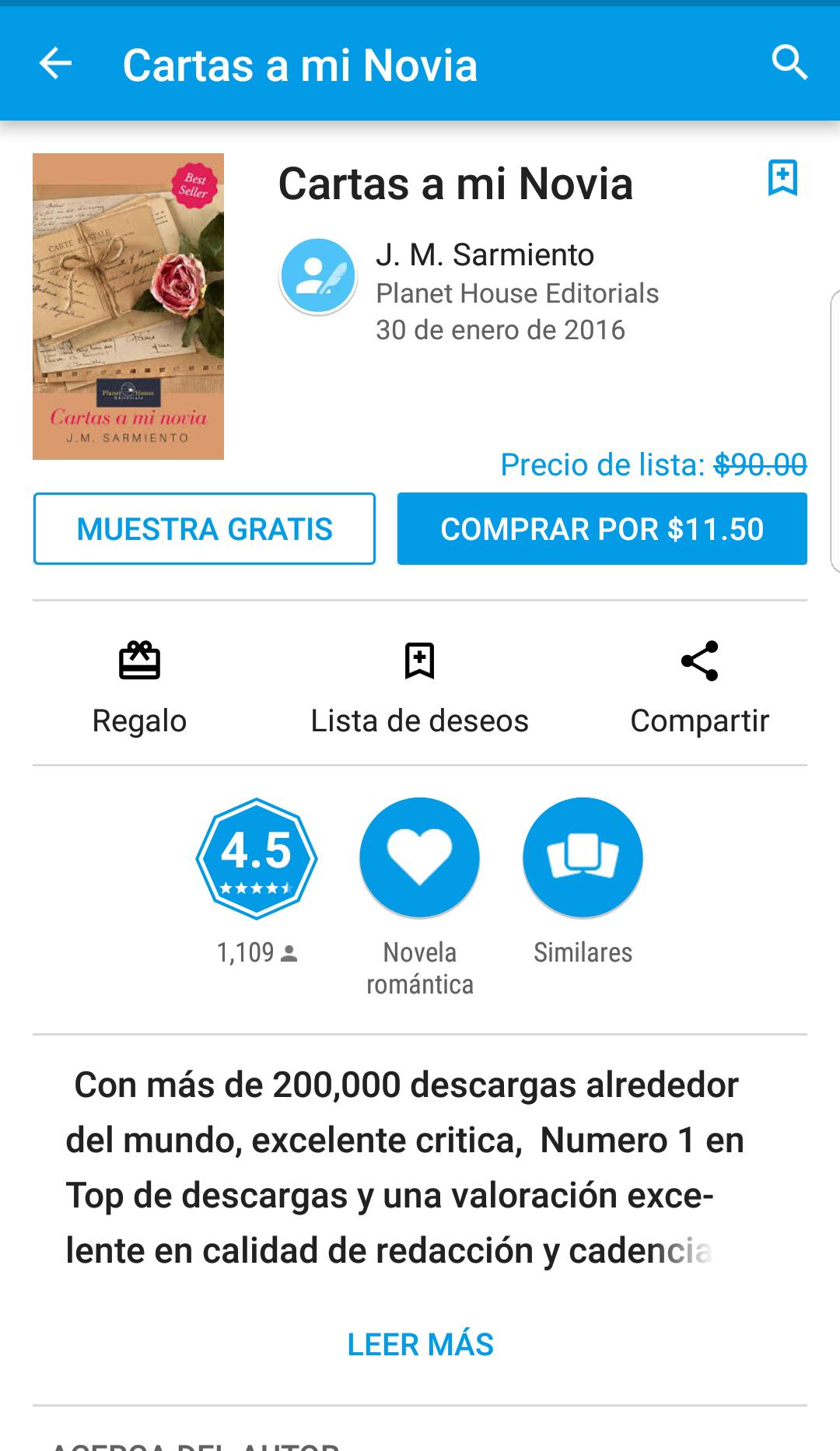 "Google play: Libro ""Cartas a mi novia"" en oferta"