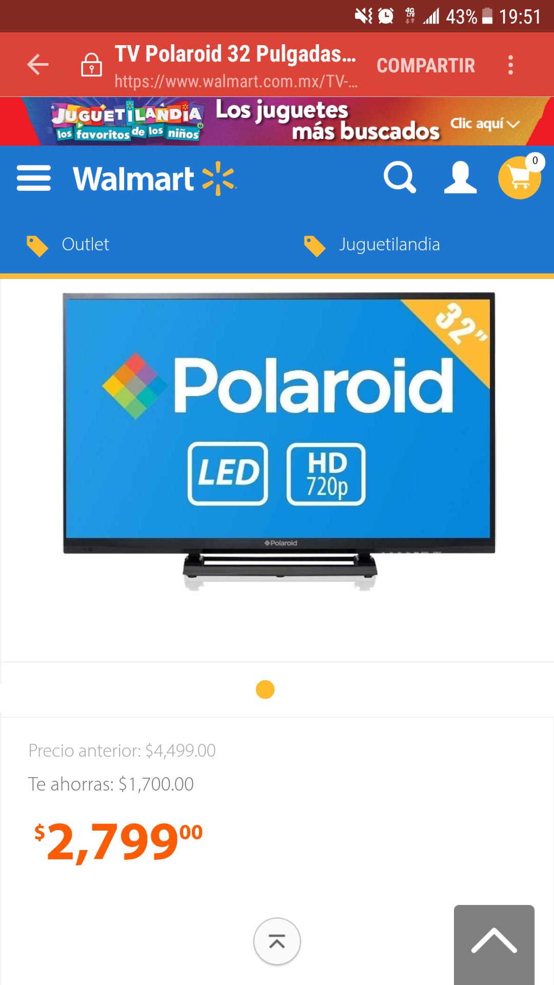 Walmart: Pantalla Polaroid 32 Pulgadas 720p HD TV LED PTV3215LED
