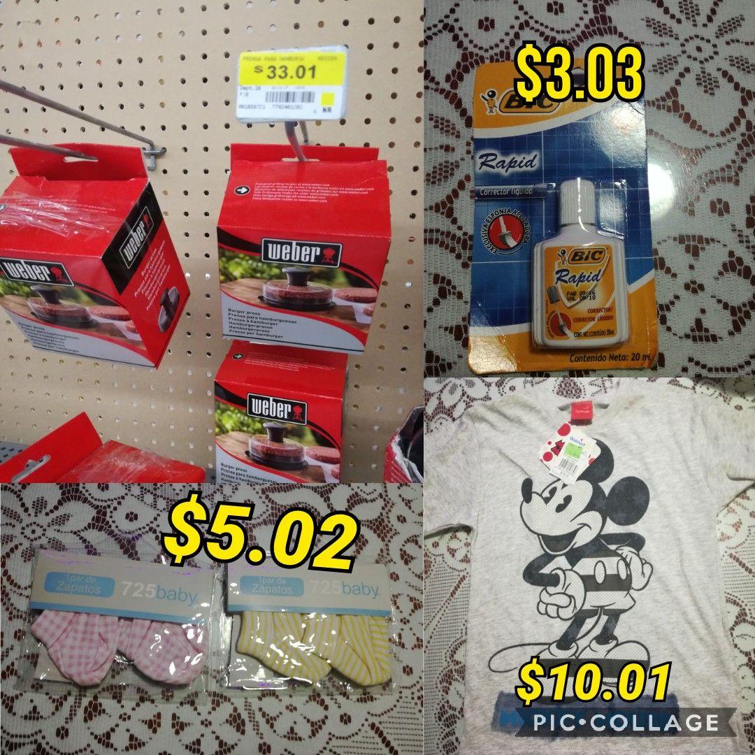 Walmart: zapato baby $5.02, playera de mickey $10.01, corrector bic. $3.03 y prensa para hamburguesas weber $33.01
