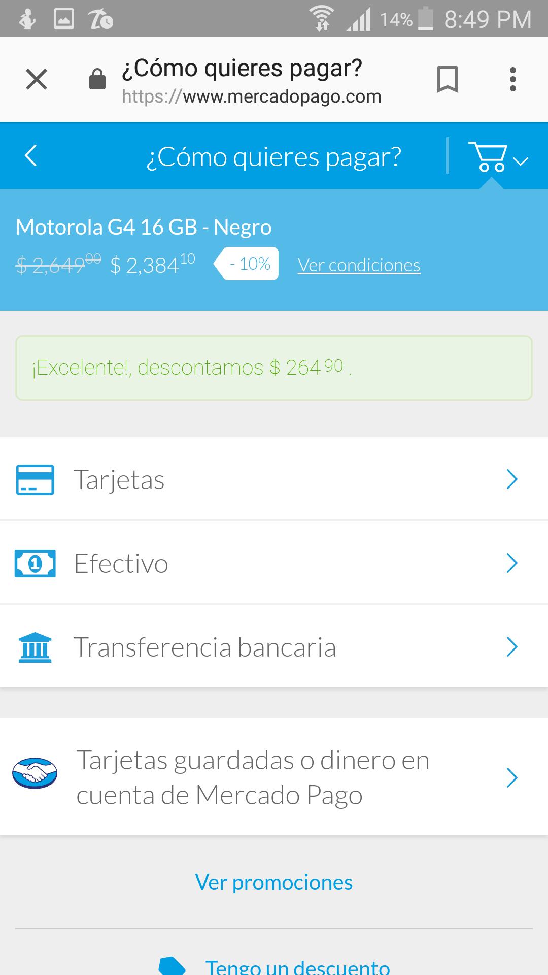 Elektra:Moto g4 16gb cupon y mercadopago