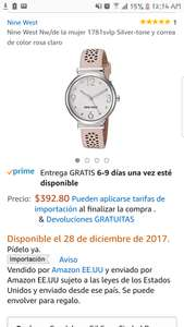 Amazon: Reloj Nine West Rosa 1781svlp