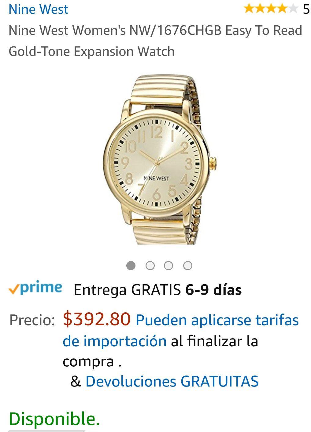 Amazon: Reloj Nine West Dorado NW/1676CHGB