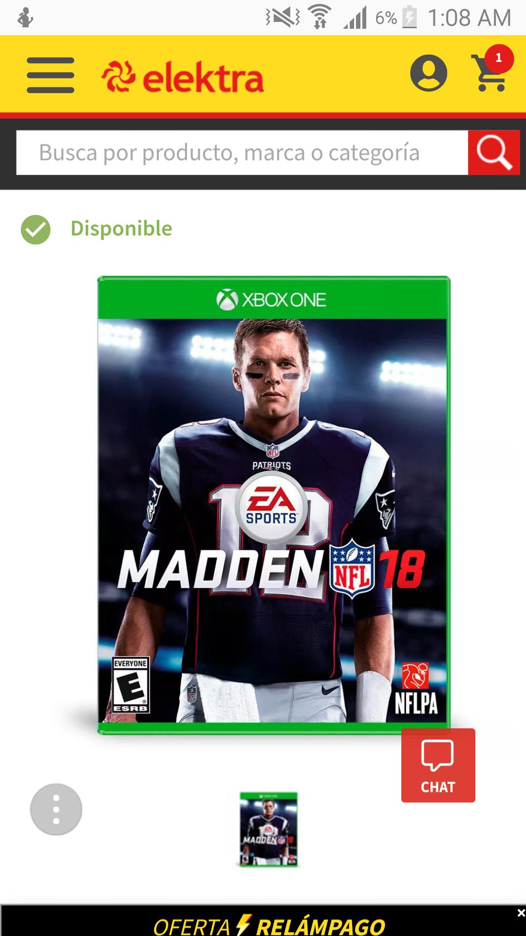 Elektra:Madden 18 Xbox one,Nintedo swich y ps4 precio con cupones