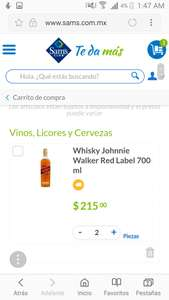 Sam's club:2 botellas johnnie walker red-label 700 ml