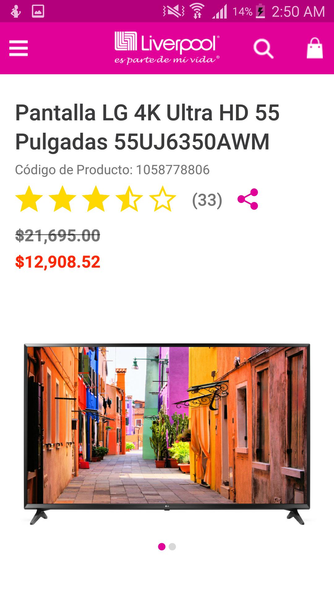 Liverpool:Pantalla LG 4K Ultra HD 55 Pulgadas 55UJ6350AWM