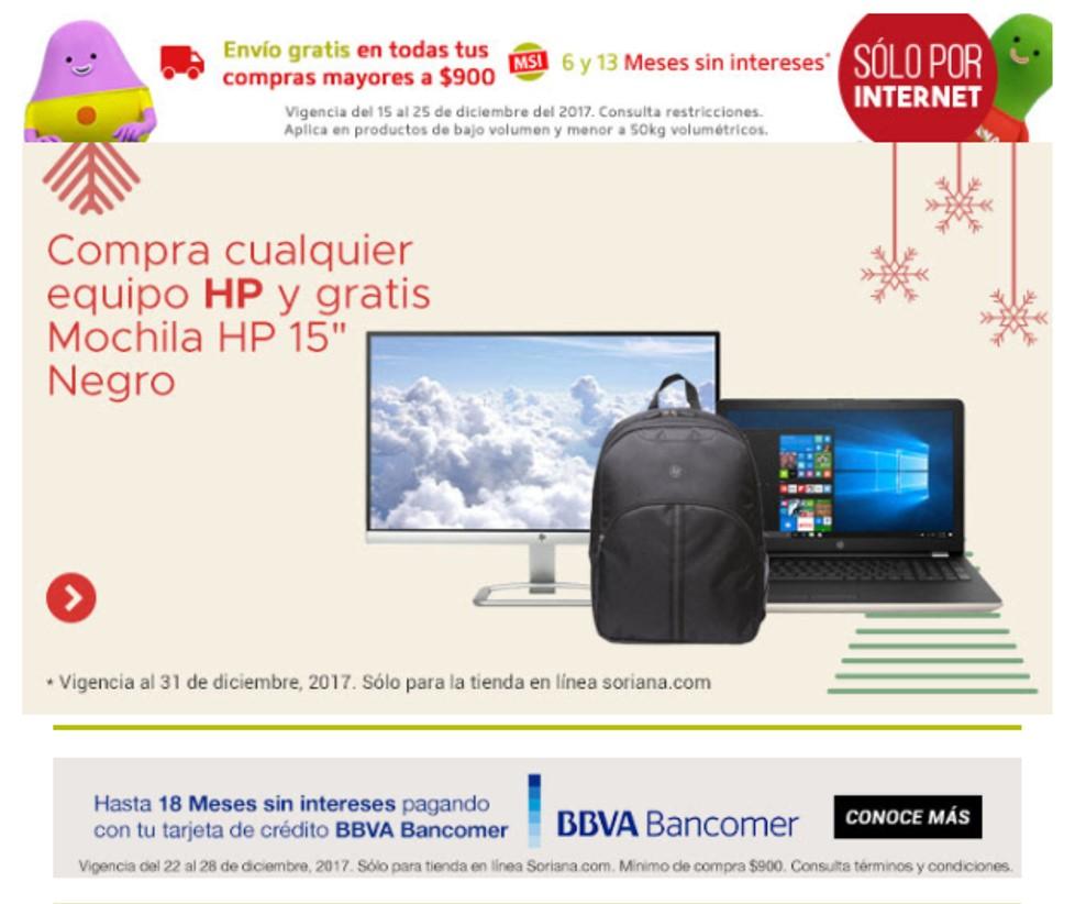 """Soriana: Gratis Mochila HP 15"""" Negro en la compara de cualquier equipo HP"""