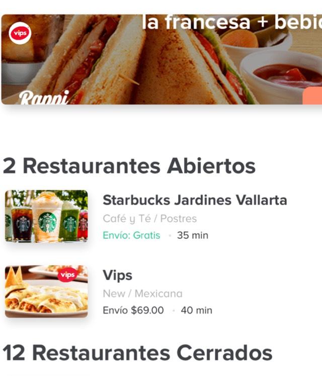 Rappi Guadalajara: envío gratis en Starbucks