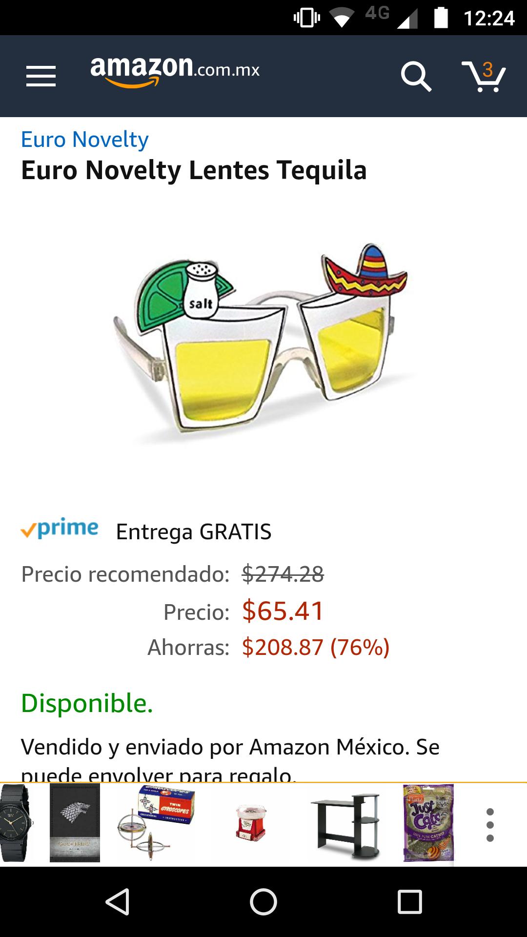 Amazon México: lentes Tequila Euro Novelty