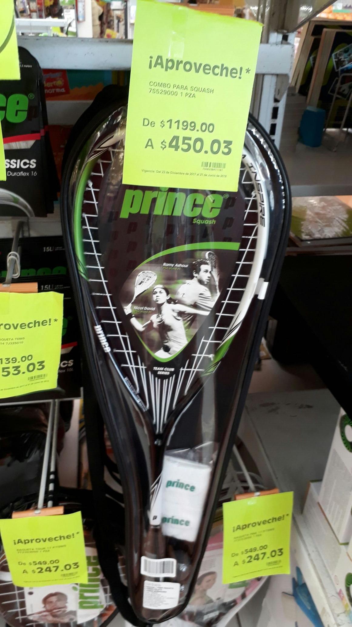 La Comer: Raqueta Squash Prince a $450