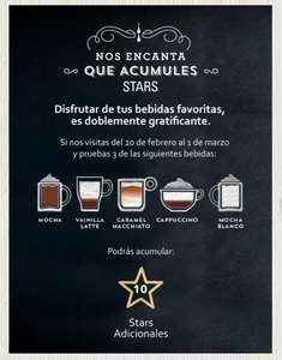 Starbucks: 10 stars adicionales probando 3 bebidas durante la promoción