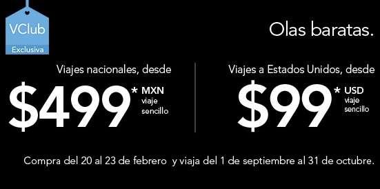 Volaris: vuelos nacionales desde $499 e internacionales US$99 en sept y oct con VClub