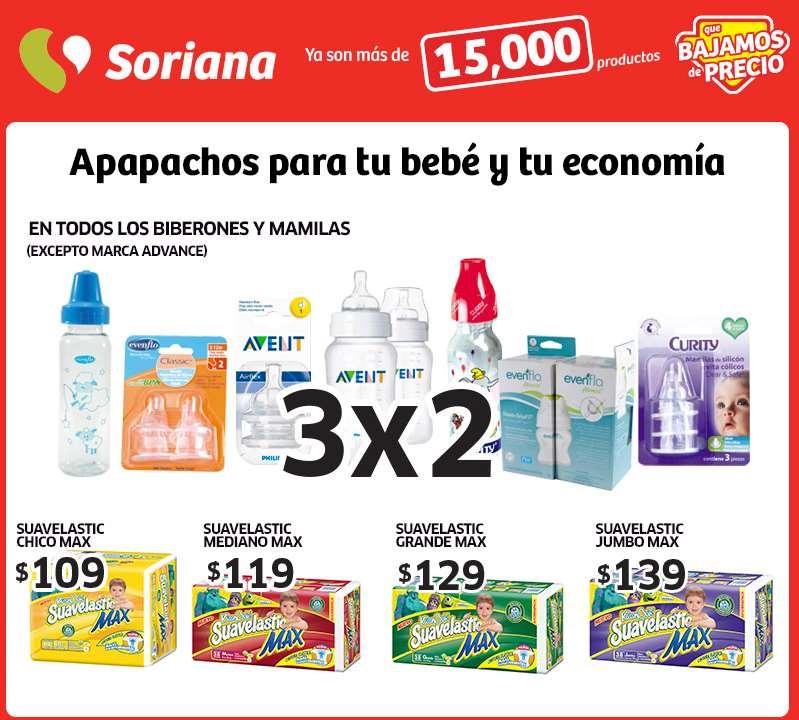 Soriana: 3x2 en todos los biberones y mamilas