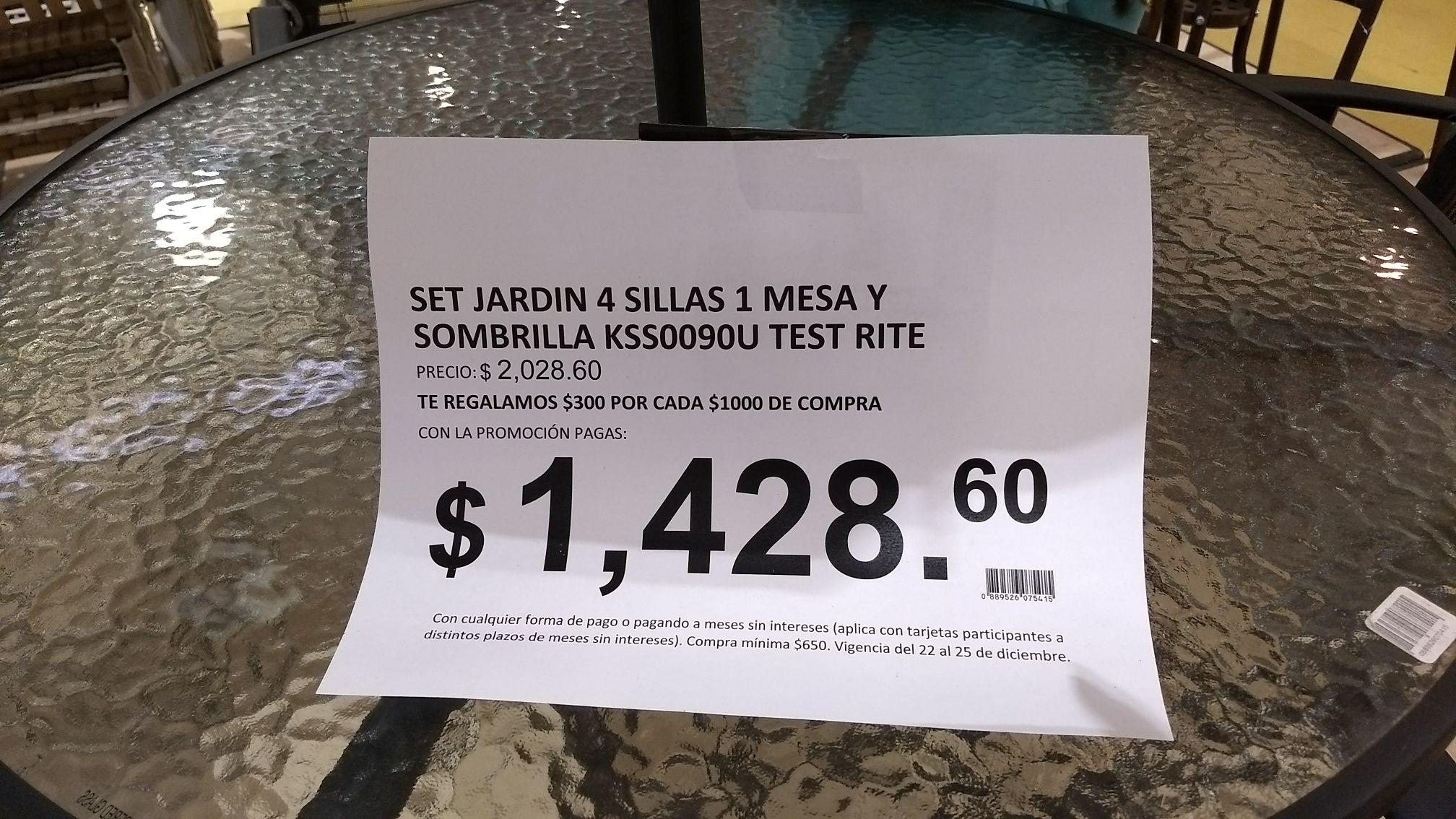 Soriana: Mesa de jardín con 4 sillas