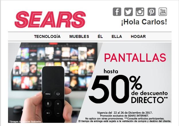 Sears en linea tiene hasta 50% de descuento directo en pantallas