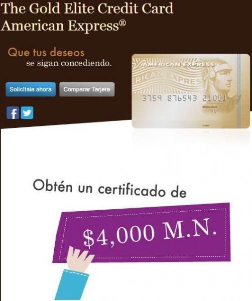 Certificado de regalo de $4,000 para MacStore solicitando tarjeta American Express