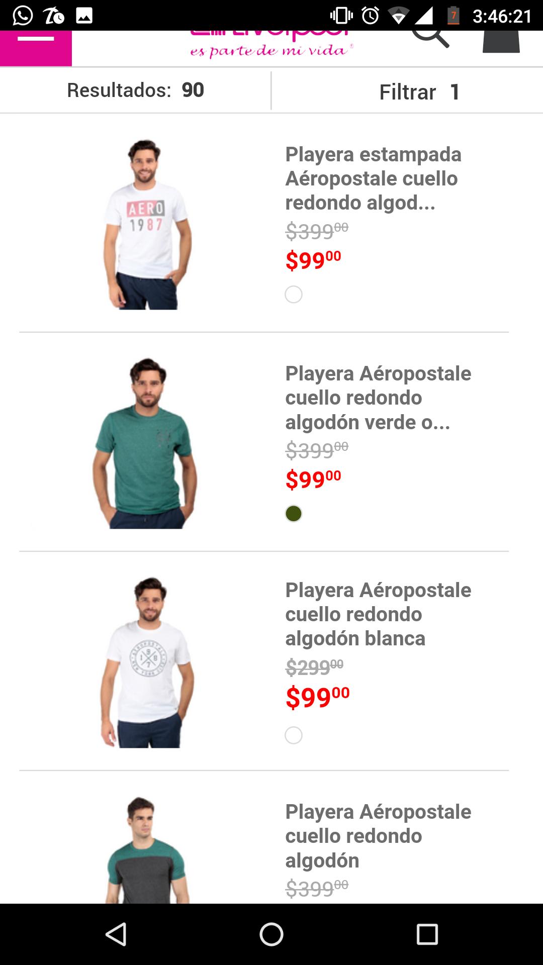 Liverpool: varias playeras en 100 pesos de marca Aeropostale