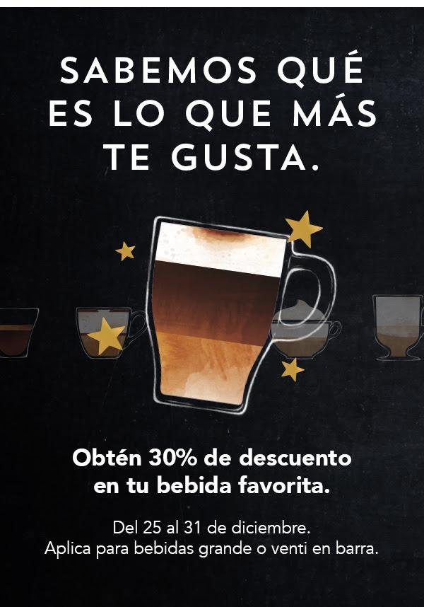 Starbucks: 30% de descuento en bebidas tamaño grande y venti (pagando con Starbucks card)