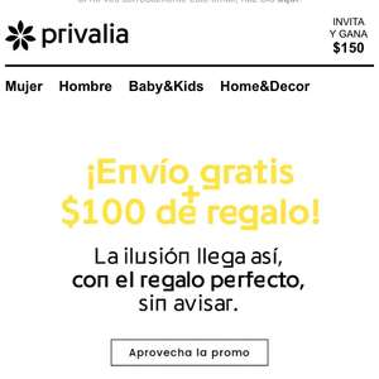 Privalia: solo hoy 100 de descuento y envio gratis