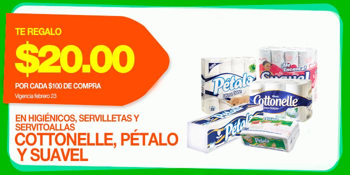 La Comer: $20 de descuento por cada $100 en marcas Cottonelle, Pétalo y Suavel