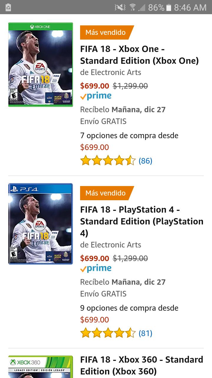 Amazon: Descuentos en Fifa 18 Dif. Plataformas