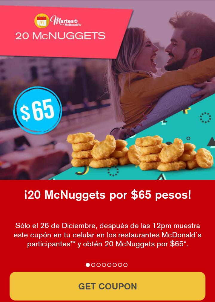 McDonald's web y app: 20  Nuggets por $65
