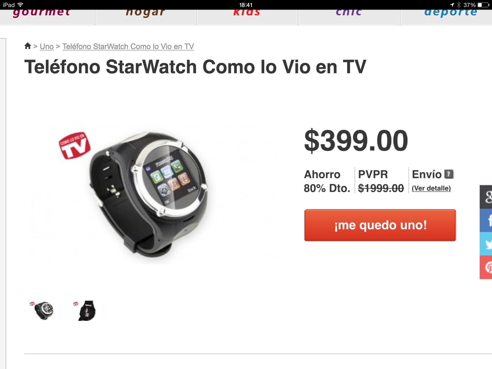 Mequedouno: Teléfono celular tipo reloj StarWatch.
