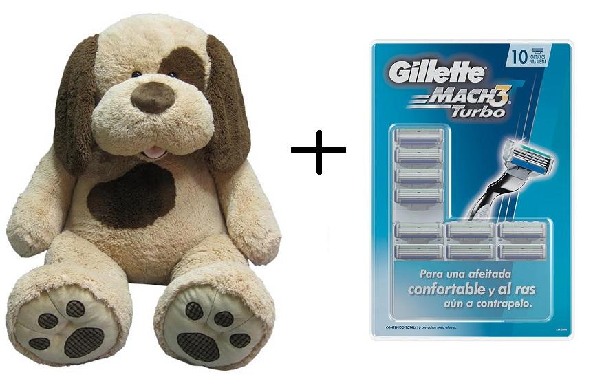 Costco.com.mx: Hugfun, perrito de peluche de 1.34m + Gillette cartuchos Mach3 Turbo 10 piezas