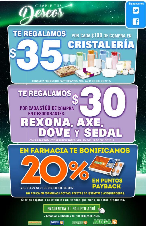 Comercial mexicana y MEGA: ¡Sólo este miércoles! $30 de descuento por cada $100 en algunos desodorantes y desde el miércoles hasta el domingo 20% de bonificación en puntos en Farmacia