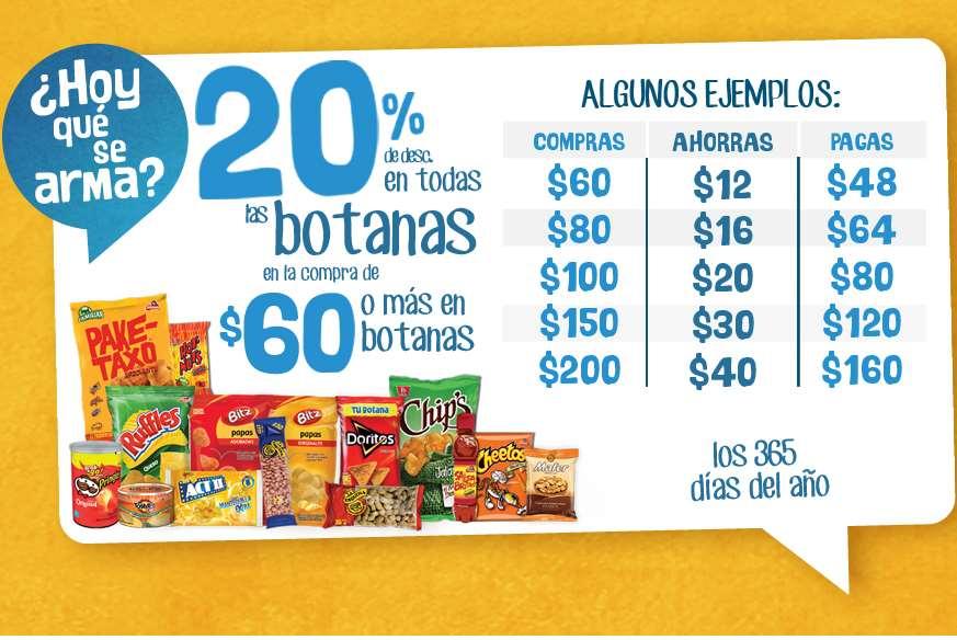 Oxxo: 20% de descuento comprando $60 o más en botana