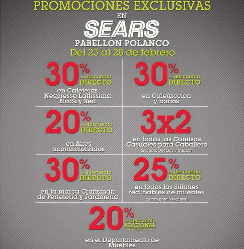 Promociones especiales en Sears Pabellón Polanco
