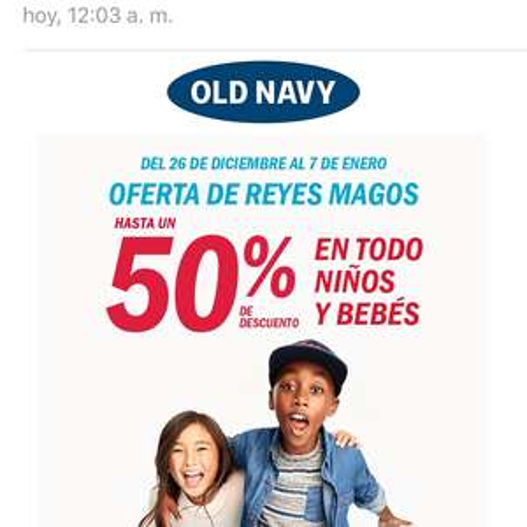 Old Navy: 50% de descuento en niños y bebes