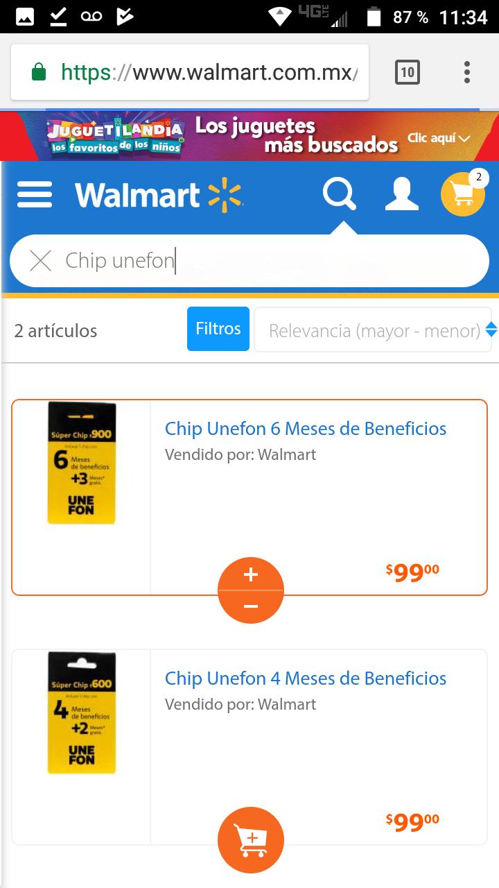 Walmart en linea: chip unefon con beneficios de 4 o 6 meses