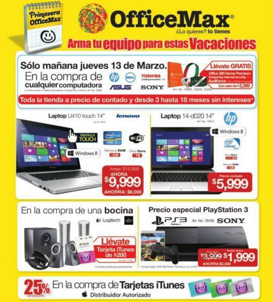 OfficeMax: PlayStation 3 12GB $1,999, 20% de descuento en iPads seleccionadas