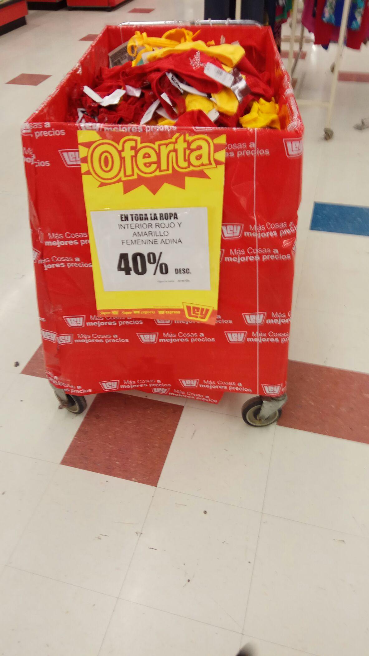 Tienda Ley León: Ropa interior roja y amarilla con 40% de descuento