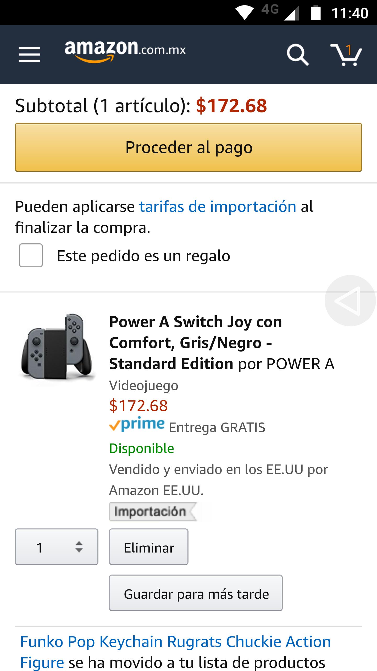 Amazon: Control para joy-cons edición standar APLICA PRIME